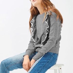 Topshop - Gray Tipped Ruffle Crew Neck Sweater